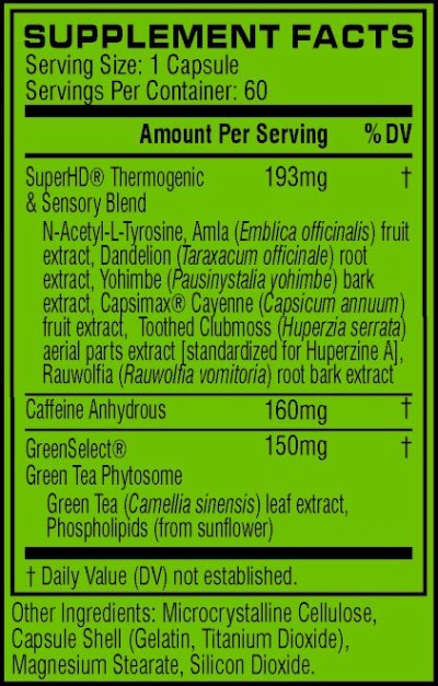 Cellucor Super HD Ingredients Label