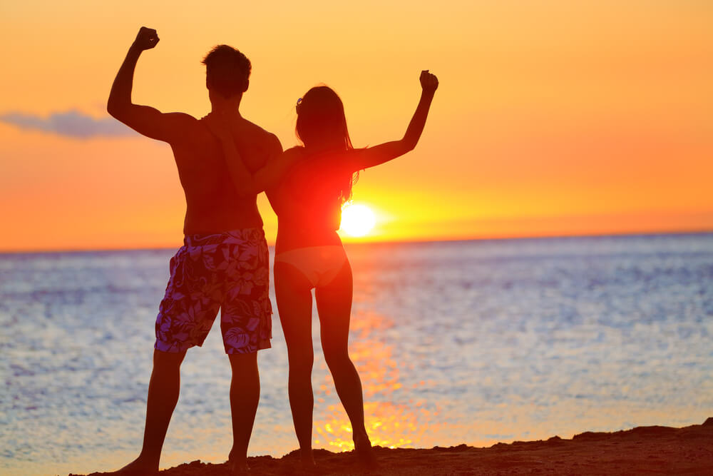 Fit Couple Making Memories During a Sunset.