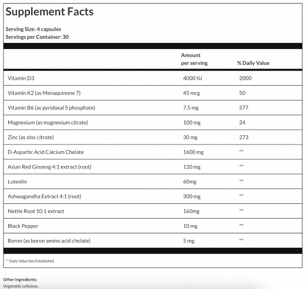 Prime Male Ingredients Label, Facts, and Information