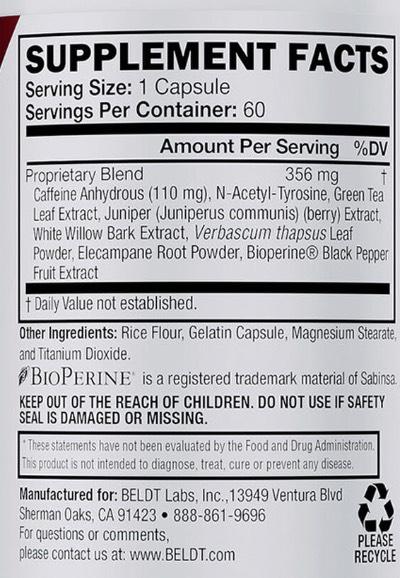 Skald Oxydynamic Fat Scorcher Ingredients Label